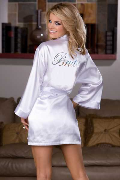 WHITE PRINTED BRIDE BACK BRIDAL INTIMATED ROBE SET
