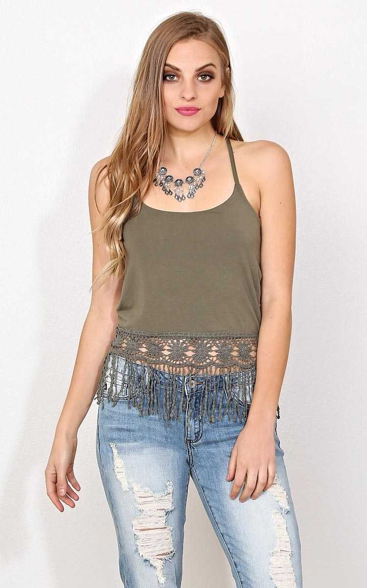 May Flowers Knit Tank - MED - Olive/Drab in Size Medium by Styles For Less