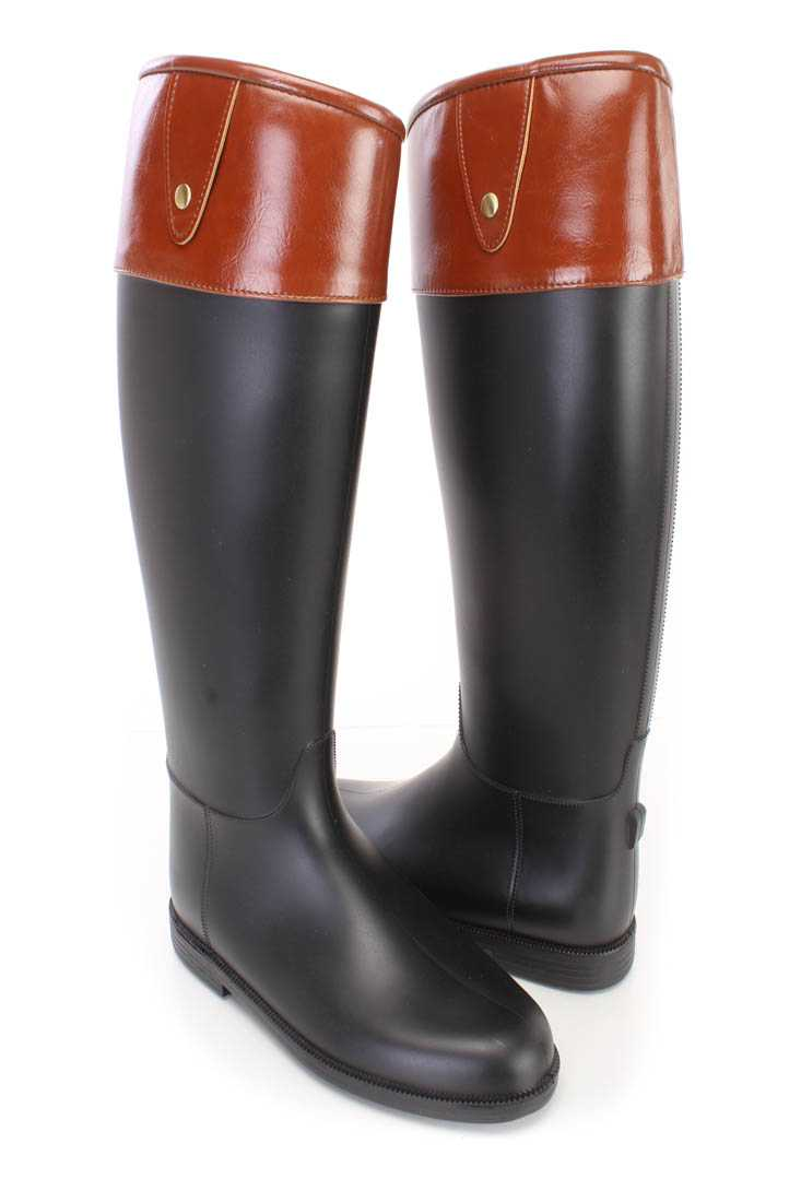 Black Two Tone Rain Boots PVC Faux Leather