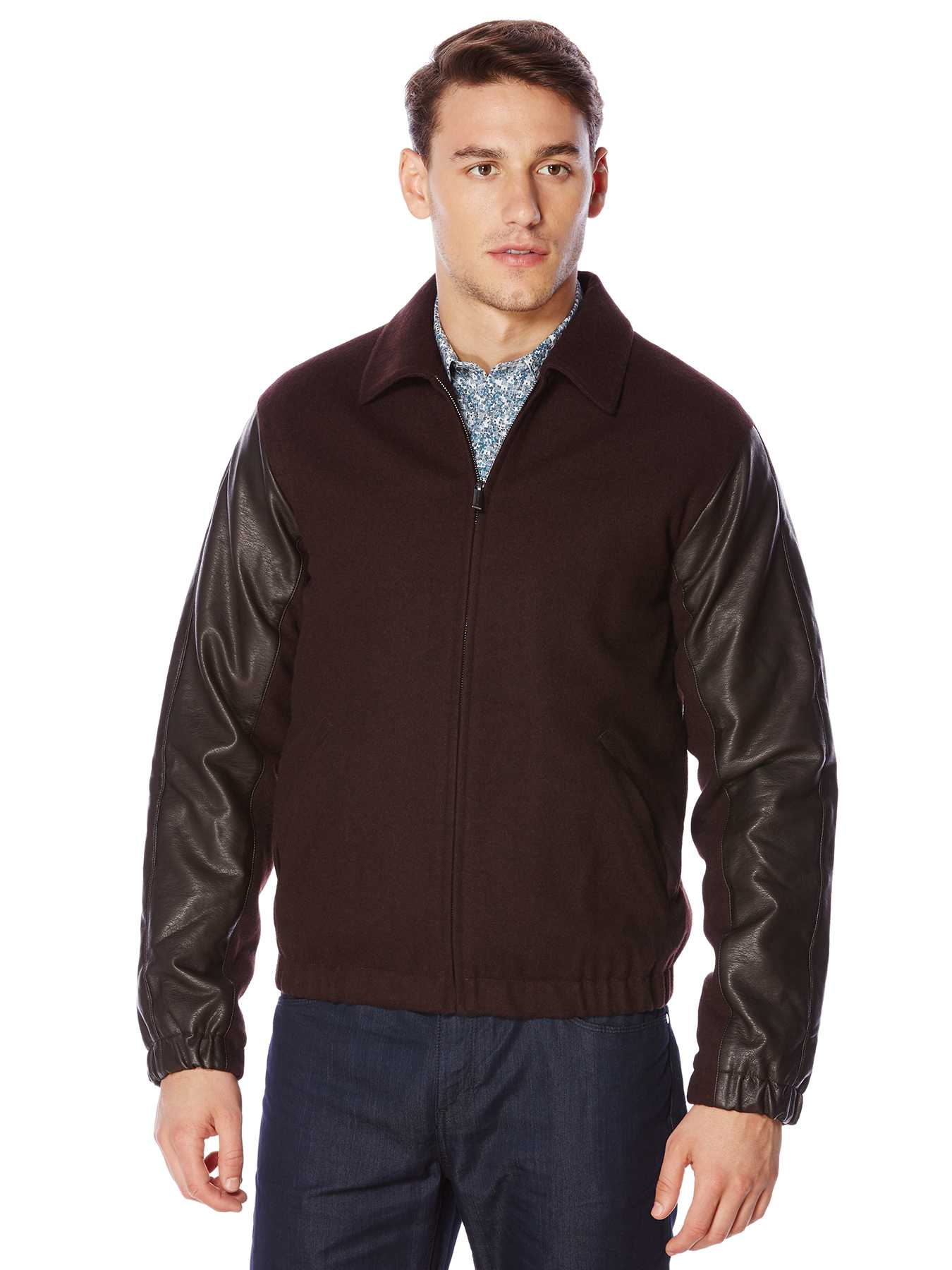 Perry Ellis Mixed Media Bomber Jacket