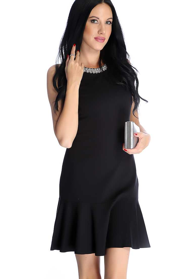 Sexy Black Rhinestone Beaded Sleeveless Party Dress