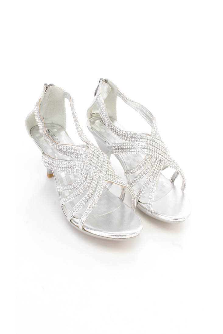 Silver Rhinestone Strappy Kids Heels Faux Leather