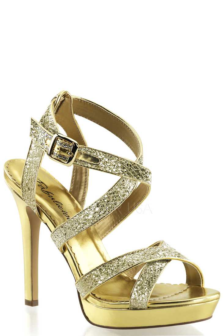 Gold Criss Cross Strappy High Heels Glitter