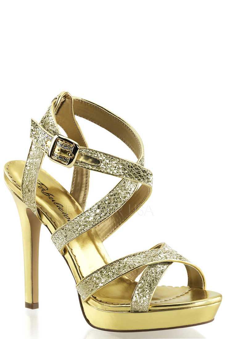 Gold Criss Cross Strappy High Heels Glitter