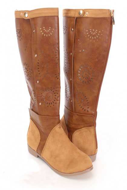 Camel Perforated Mid Calf Boots Faux Leather