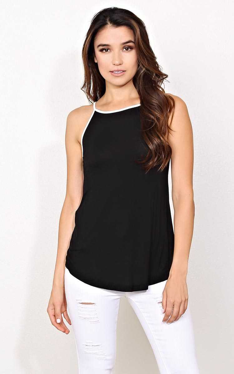 Bianca Knit Ringer Tank - MED - Black in Size Medium by Styles For Less