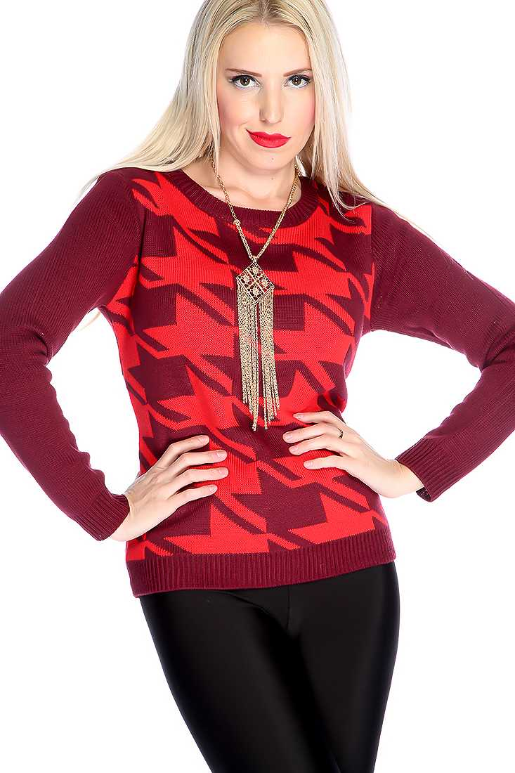 Red Wine Long Sleeve Houndstooth Knitted Sweater