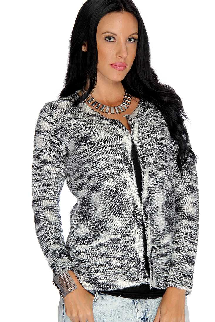 Silver Black Long Sleeve Sequin Accent Cute Cardigan