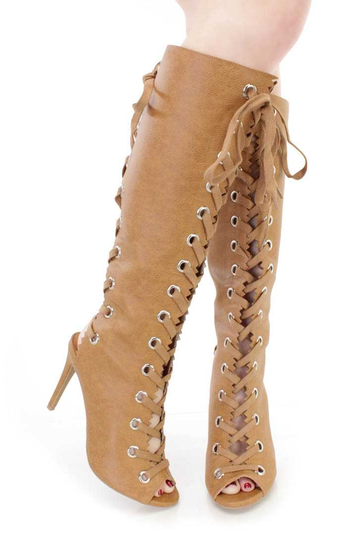 Whisky Lace Up Peep Toe Boots Faux Leather