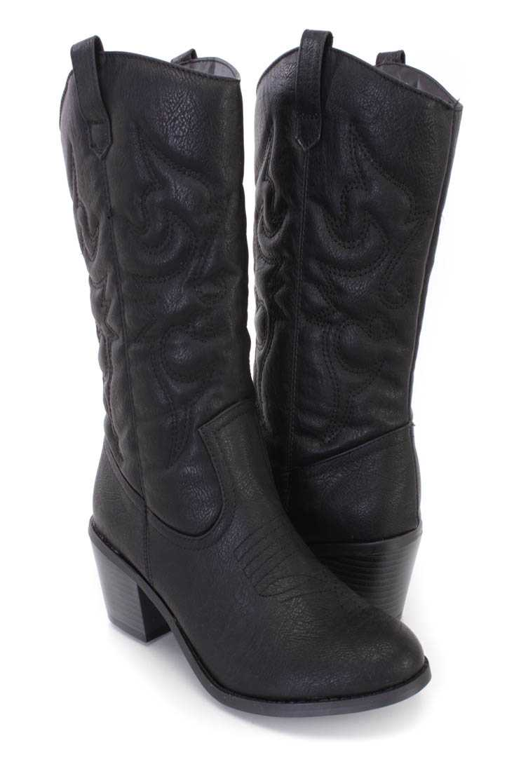 Black Stitched Cowboy Style Boots Faux Leather