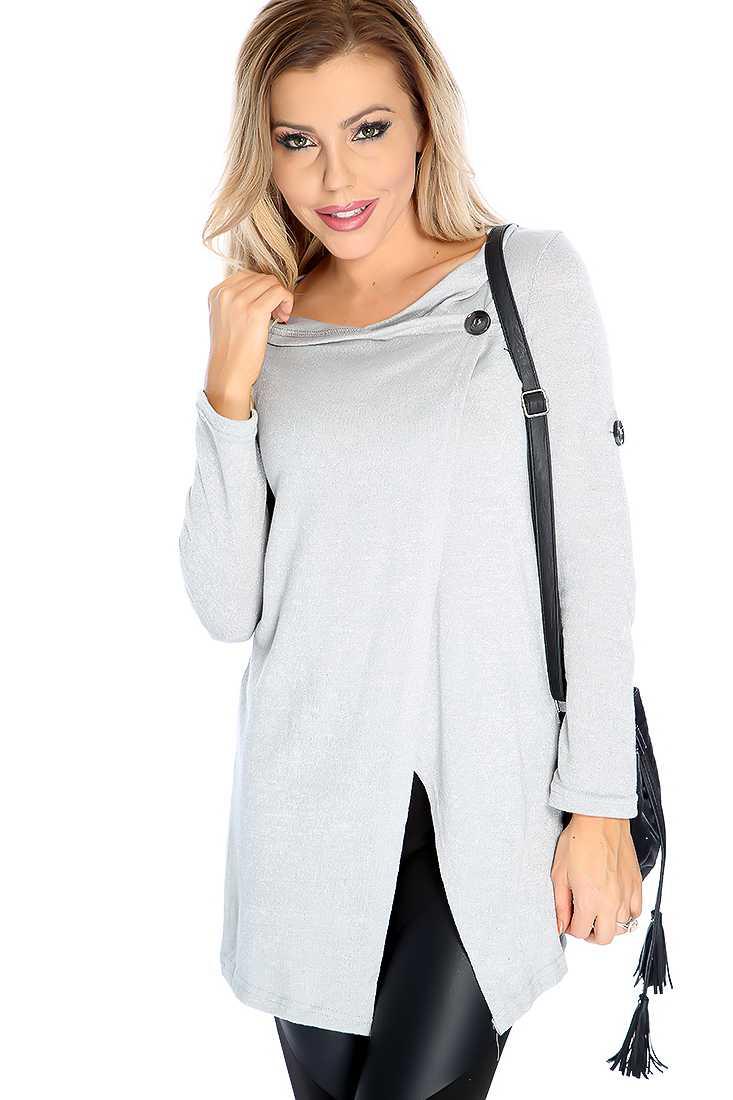 Stylish Grey Long Sleeve Button Detail Sweater