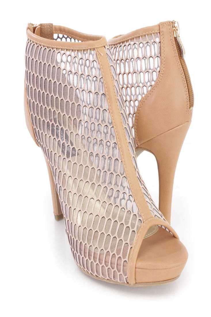Camel Mesh Netted Ankle Booties Faux Leather