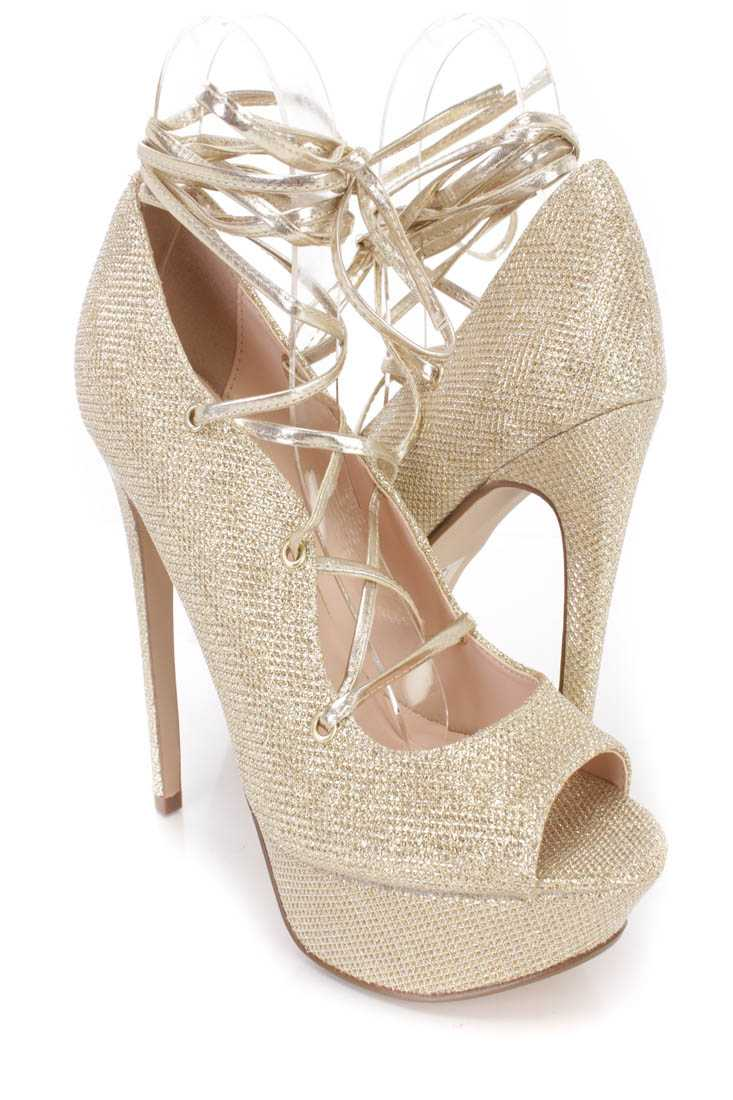 Light Gold Peep Toe Lace Up High Heels Glitter