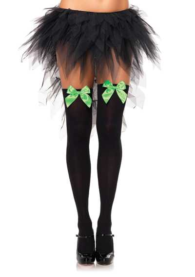 Black Neon Green Bow Opaque Thigh High Stockings