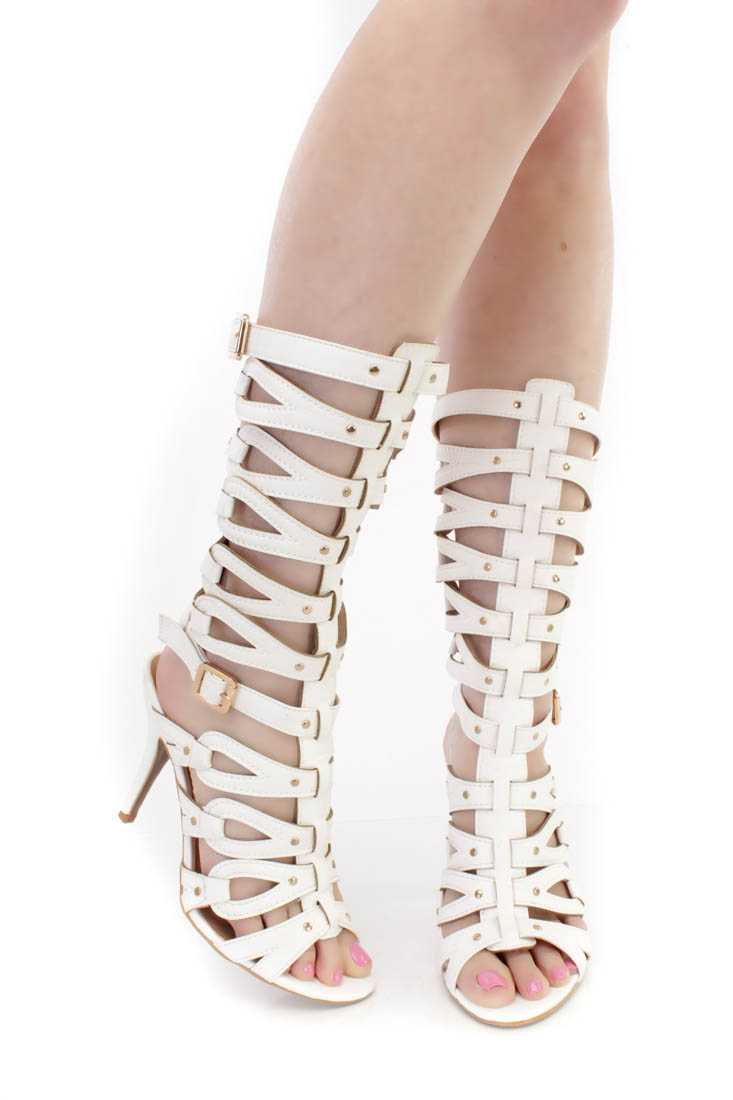 White Single Sole Gladiator High Heels Faux Leather