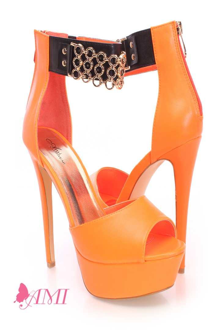 Neon Orange Peep Toe Platform High Heels Faux Leather