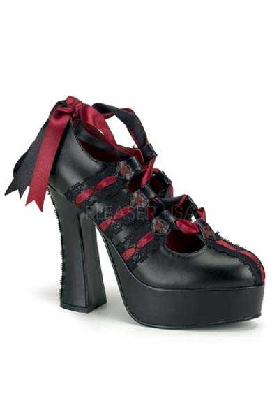 Black Burgundy Ribbon Corset Lace Sexy High Heels