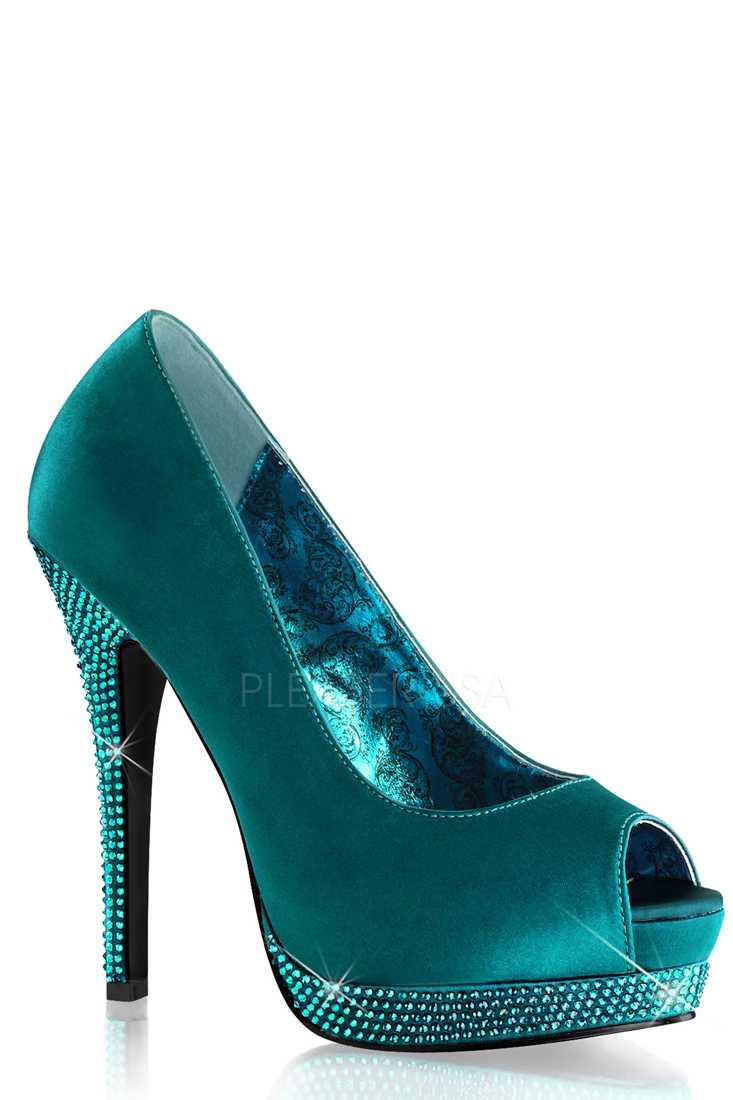 Turquoise Peep Toe Rhinestone Platform Pump High Heels Satin