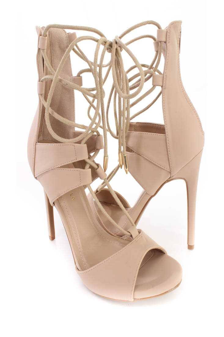 Nude Lace Up Strappy Single Sole High Heels Nubuck