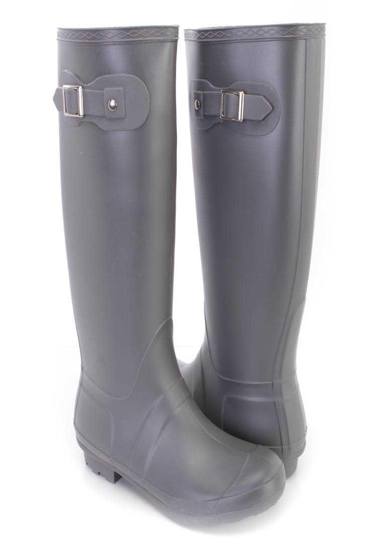 Grey Slip On Rubber Rain Boots PVC