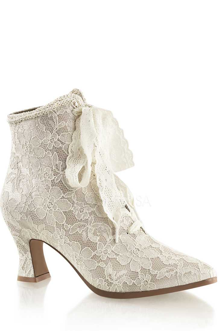 Champagne Victorian Style Booties Satin Lace