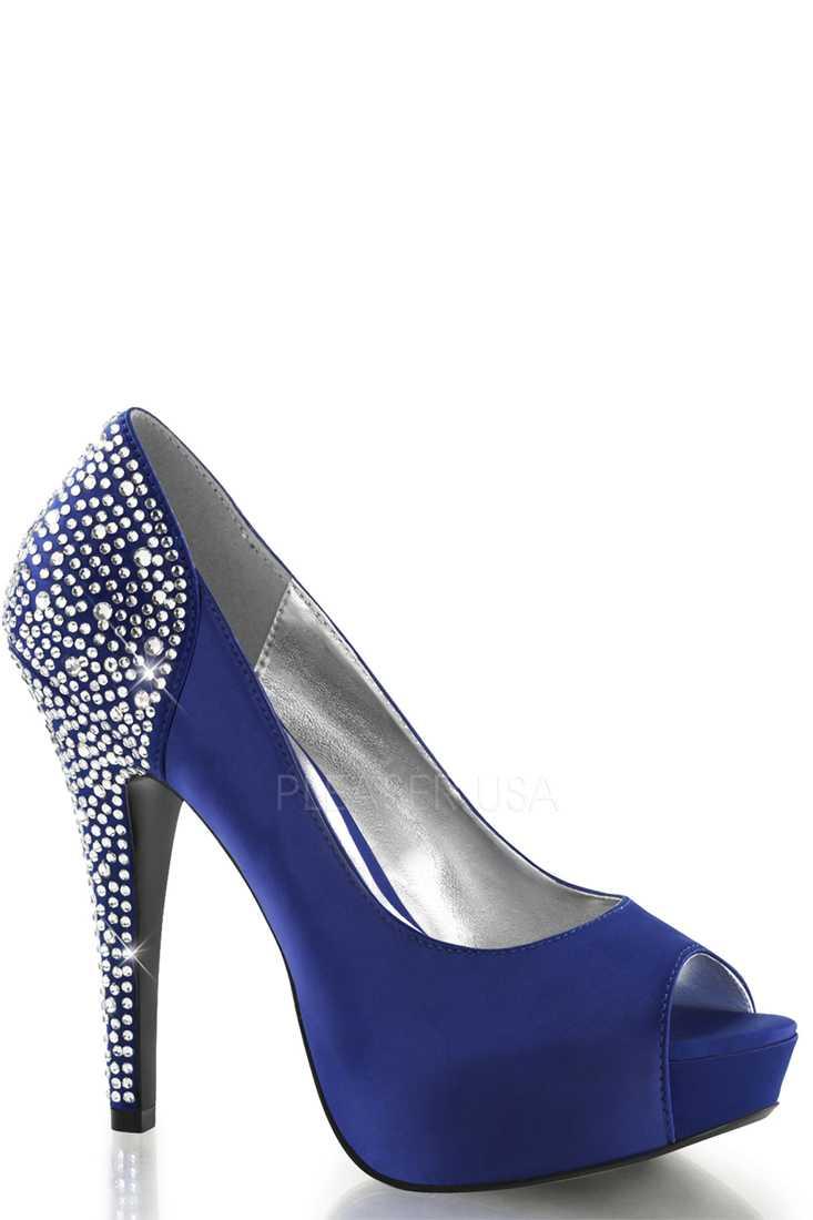 Royal Blue Rhinestone Pump High Heels Silk Satin