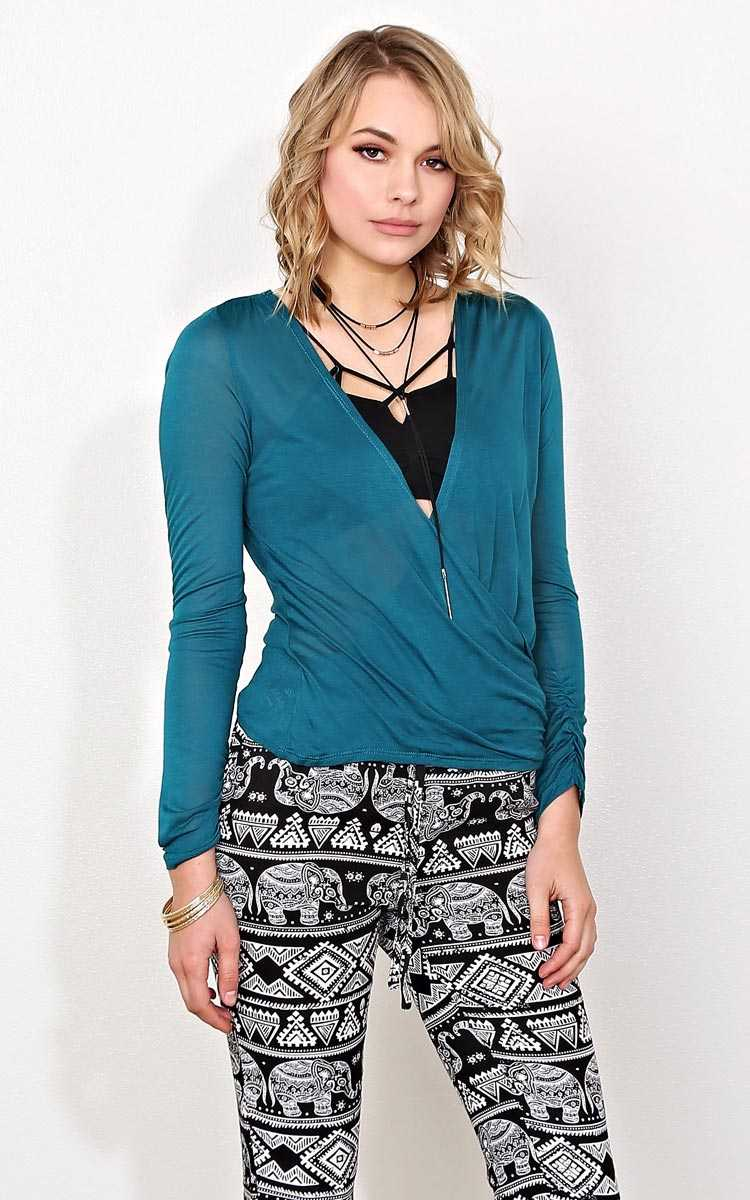 Teal With It Surplice Knit Top - - Teal in Size by Styles For Less