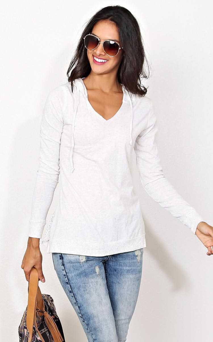 Cute Chill Hooded Top - - White in Size by Styles For Less