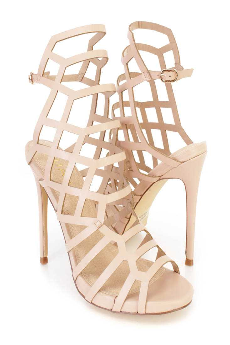 Nude Strappy Cut Out Single Sole High Heels Faux Leather