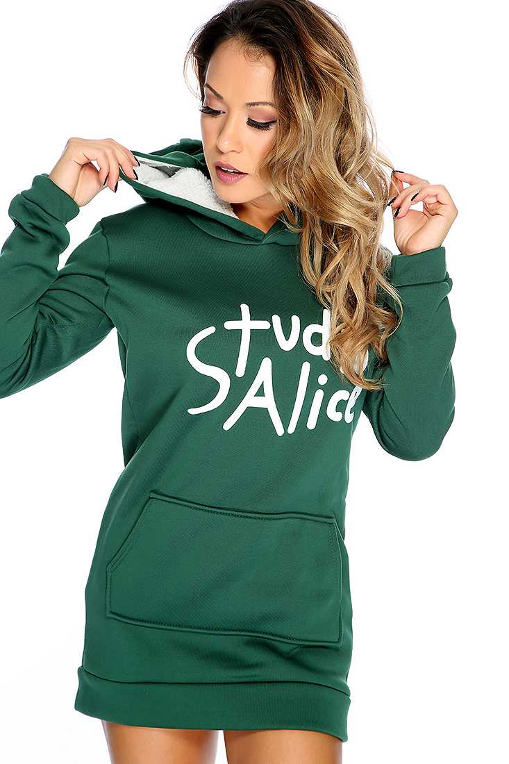 Forest Green Graphic Design Hoodie Sweater