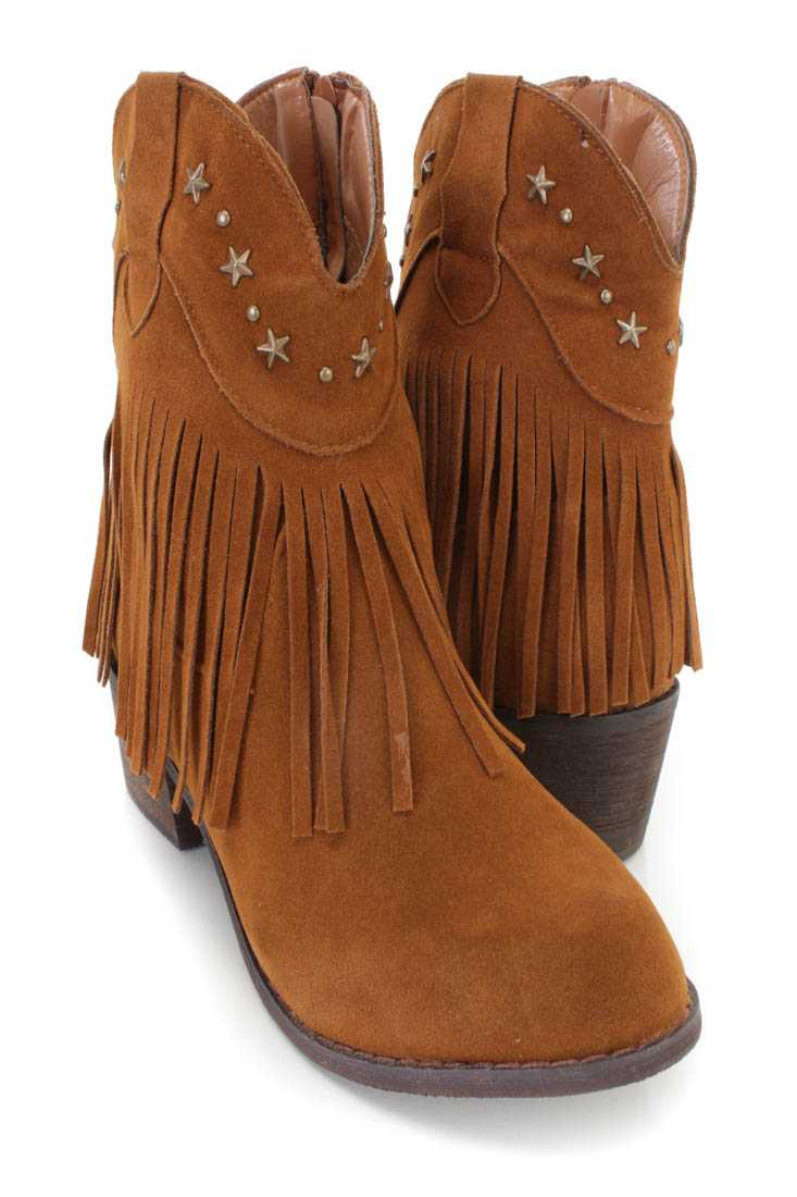 Rust Fringe Star Studded Ankle Booties Faux Suede