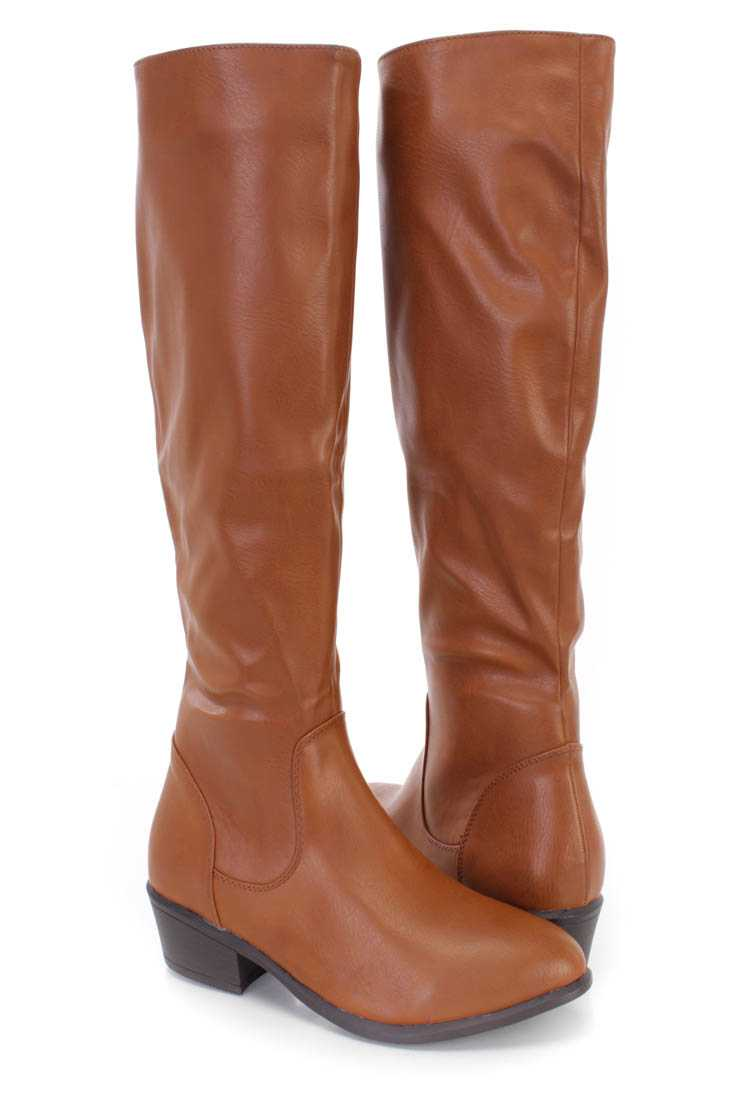 Camel Knee High Riding Boots Faux Leather