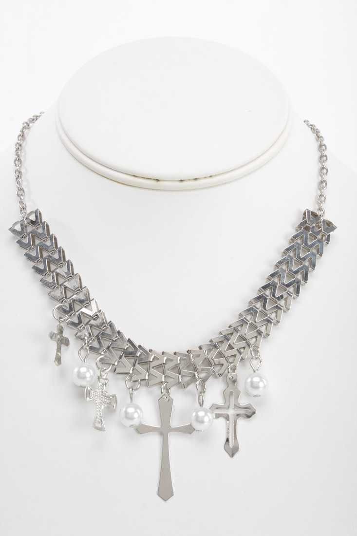 Silver Meal Mesh Beaded Cross Charm Necklace