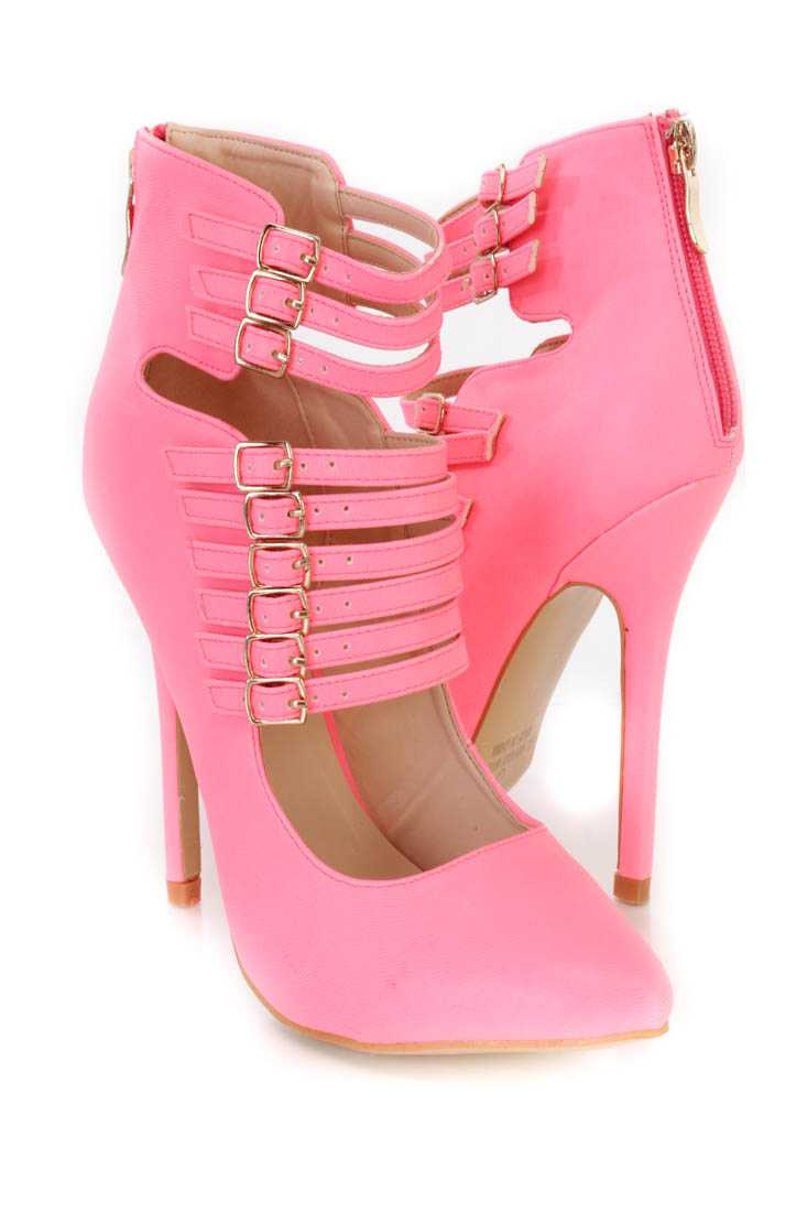 Neon Pink Strappy Single Sole Heel Booties Faux Leather