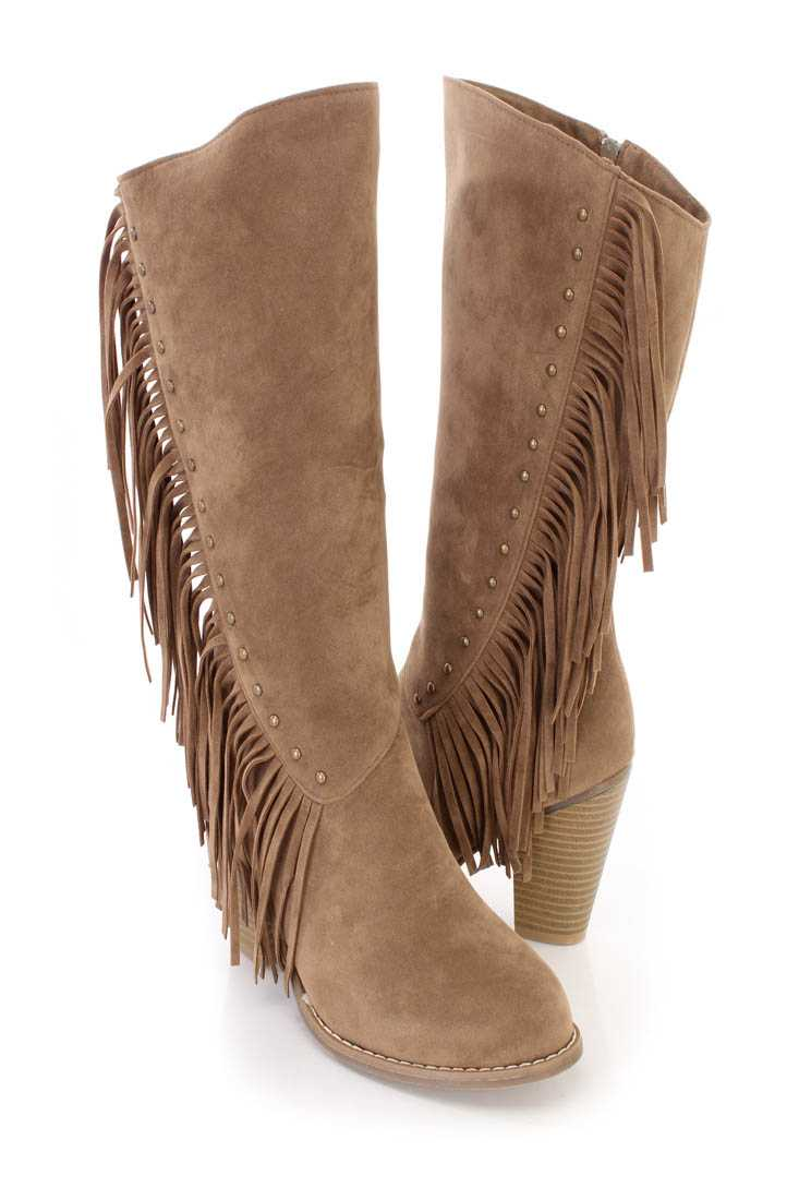 Taupe Studded Fringe High Heel Boots Faux Suede