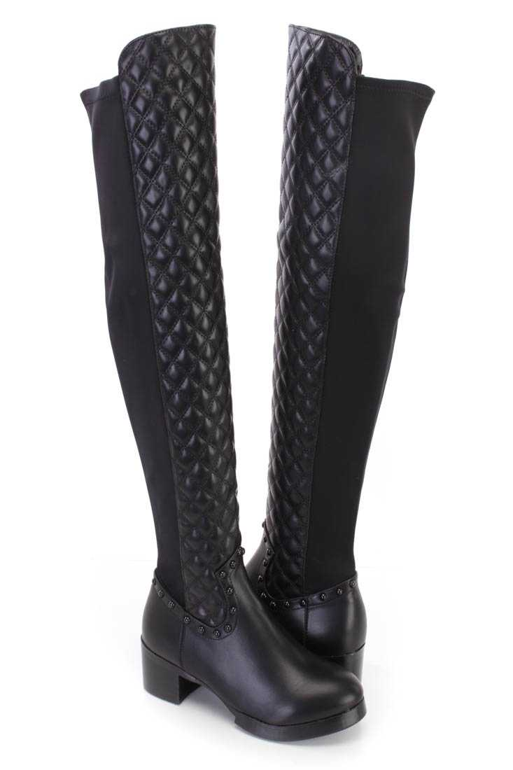 Black Studded Quilted Thigh High Riding Boots Faux Leather
