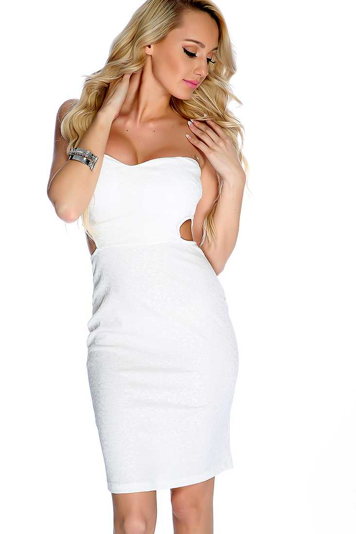 Sexy White Shimmer Printed Cut Out Strapless Bodycon Party Dress