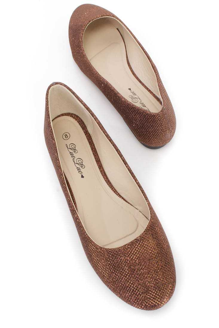 Bronze Round Closed Toe Flats Shimmer Fabric