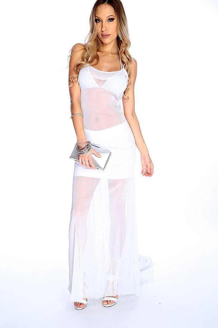 Sexy Grey Sleeveless Lightweight Material Shimmer Dress
