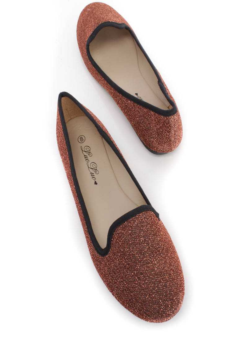 Bronze Tinsel Slip On Loafer Flats Shimmer Fabric