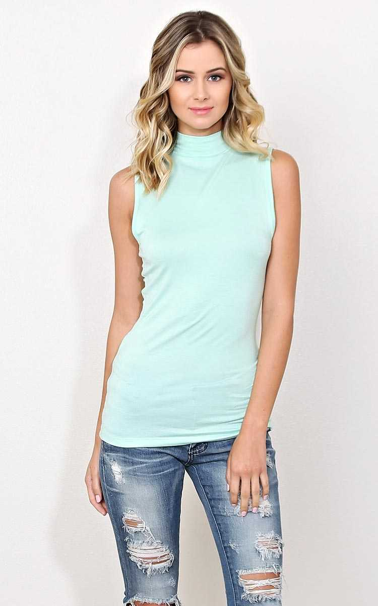 Camille Mock Neck Knit Tank - - Dusty Mint in Size by Styles For Less