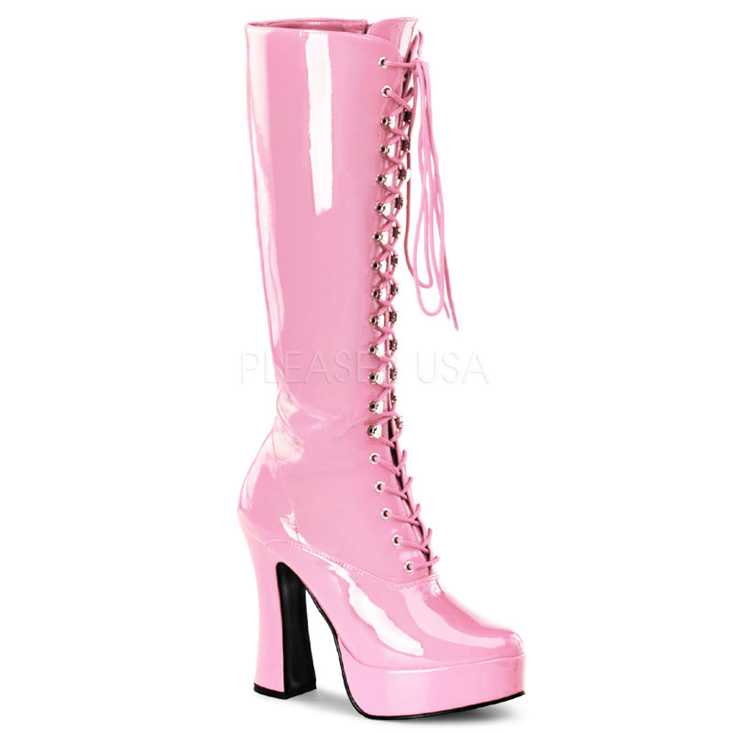Baby Pink Lace Up Knee High Platform Boots Patent