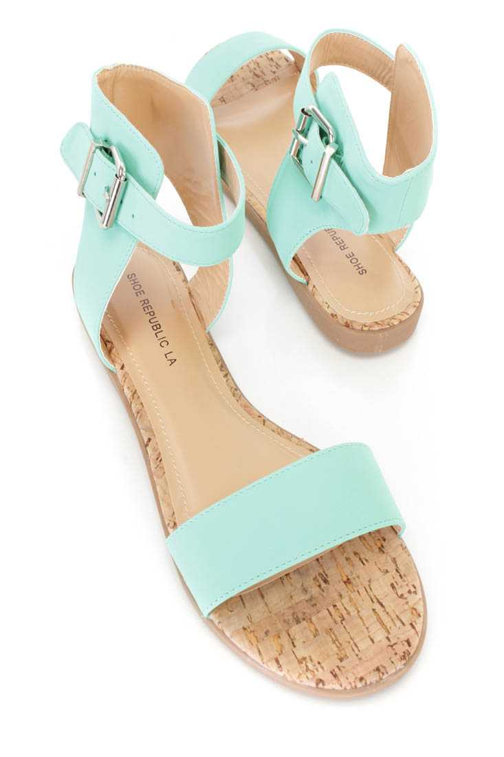 Mint Open Toe Strappy Sandals Nubuck Faux Leather