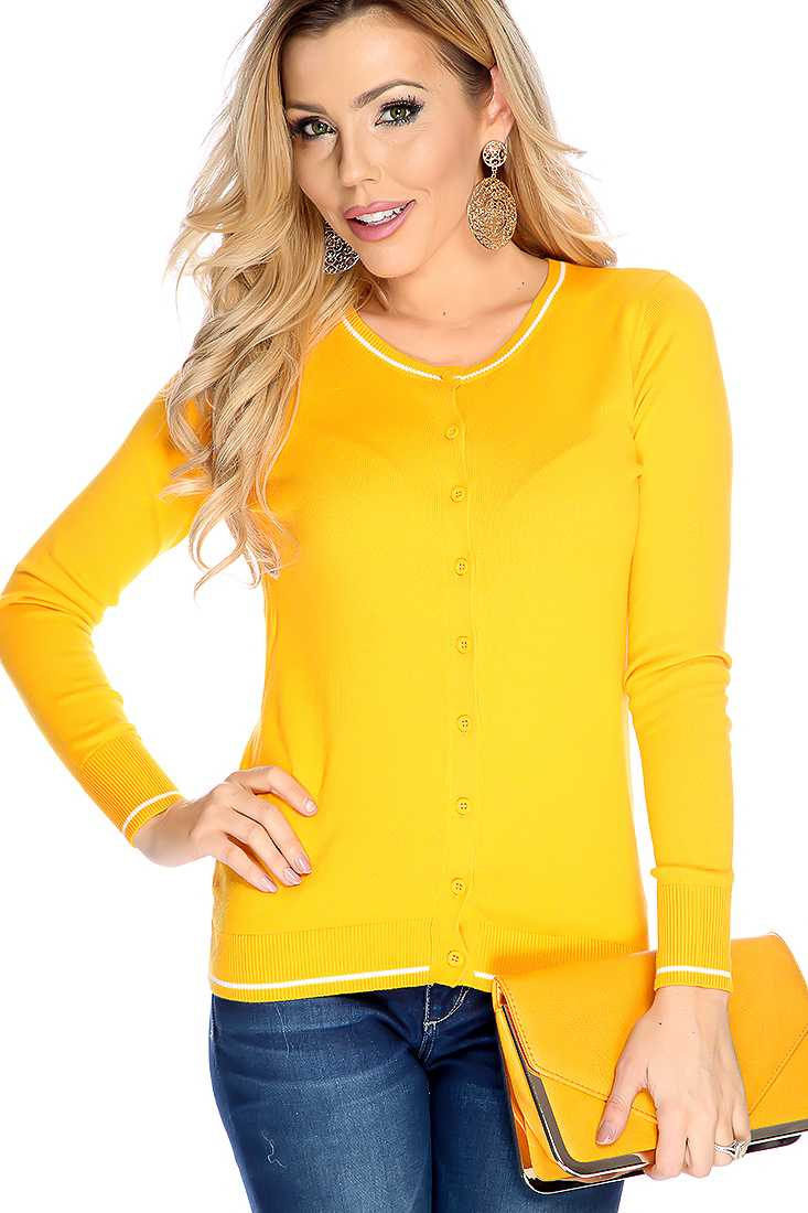 Mari Gold Long Sleeves Button Up Closure Round Neckline Sweater