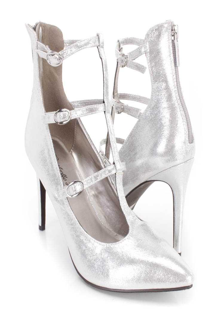 Silver Pointed Toe Strappy Single Sole Heels Faux Suede