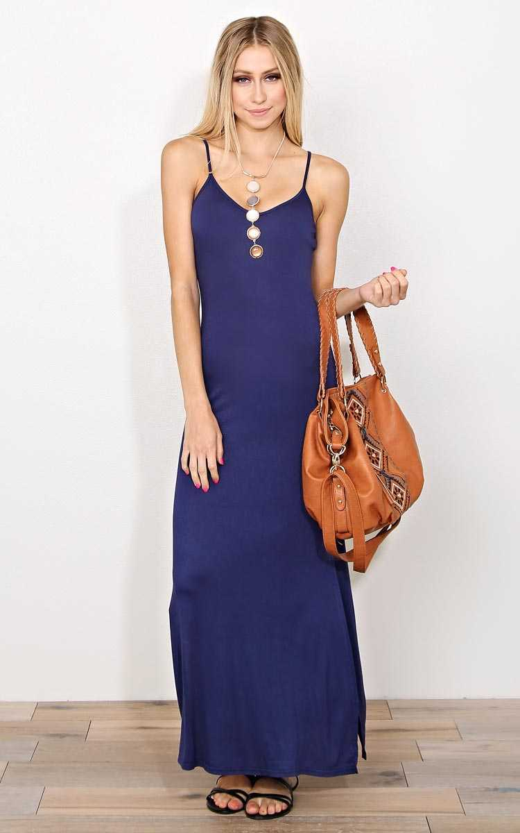 Navy Felicity Knit Maxi Dress - - Navy Combo in Size by Styles For Less