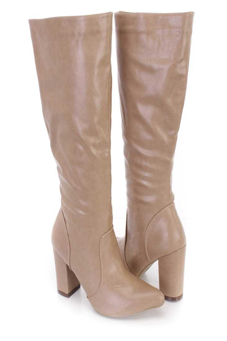 Taupe Chunky High Heel Boots Faux Leather