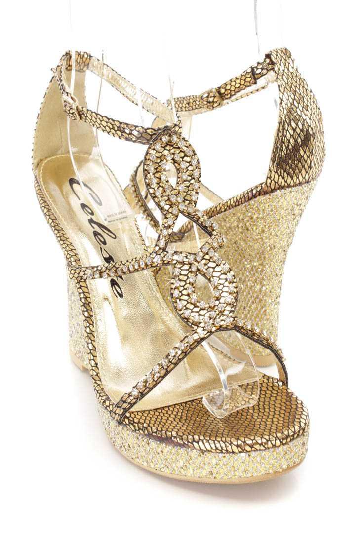 Gold Rhinestone Strappy Wedges Metallic Fabric