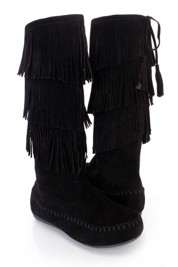 Black Fringe Tiered Moccasin Style Boots Faux Suede