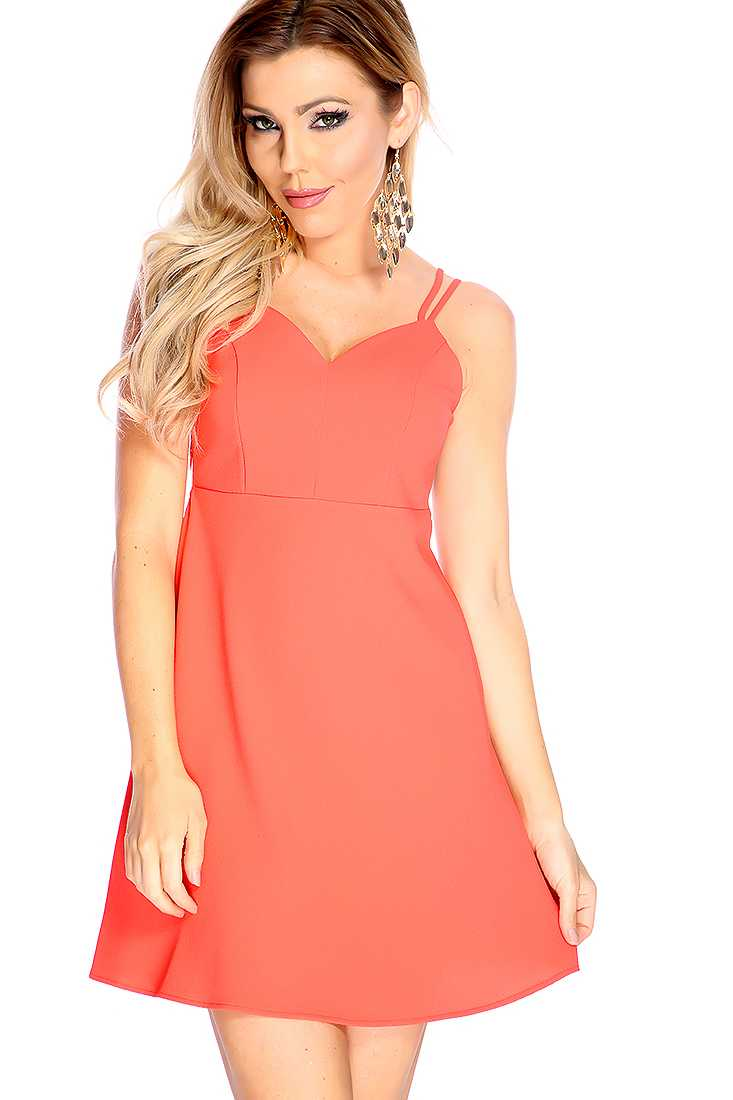 Sexy Coral Strappy Back Sleeveless Casual Dress